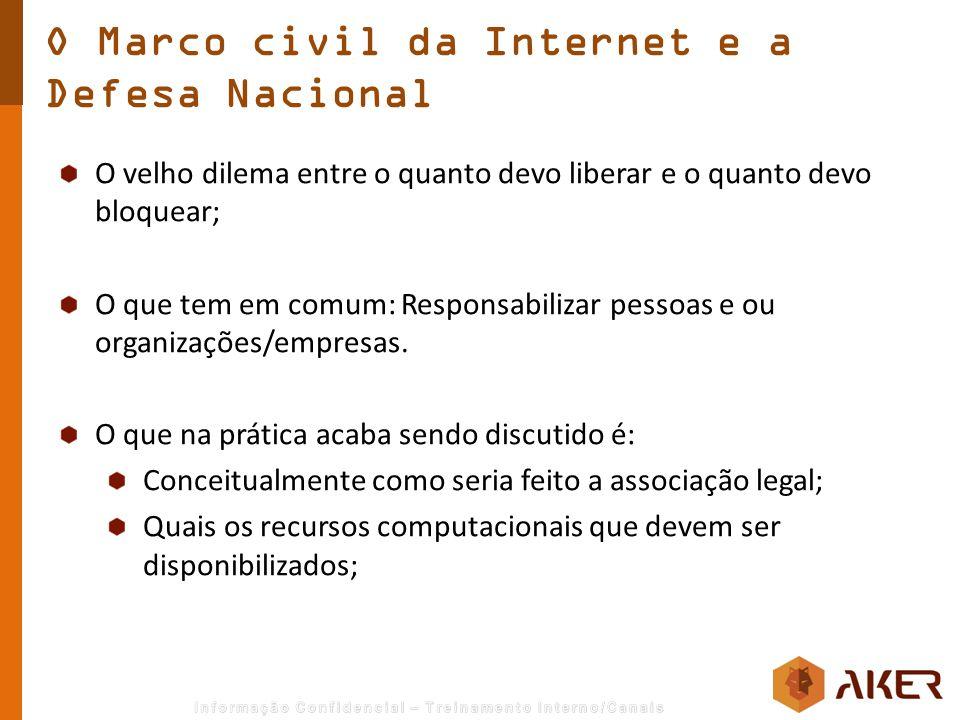O Marco civil da Internet e a Defesa Nacional O velho dilema entre o quanto devo liberar e o quanto devo bloquear; O que tem em comum: Responsabilizar