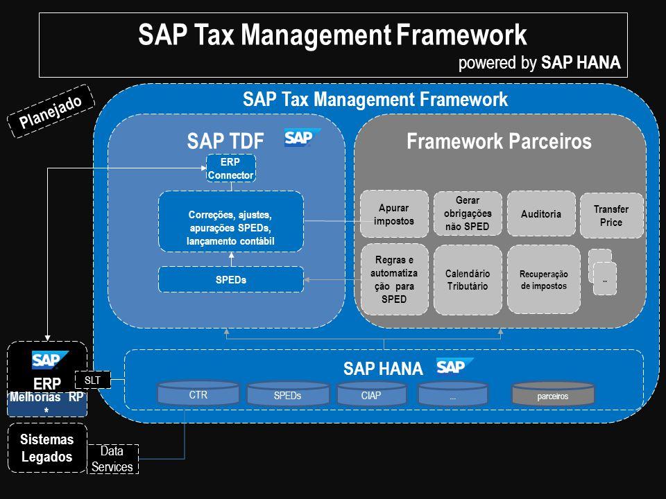Framework ParceirosSAP TDF ERP Sistemas Legados SPEDs Correções, ajustes, apurações SPEDs, lançamento contábil SAP HANA CTR SPEDs parceiros CIAP... Da
