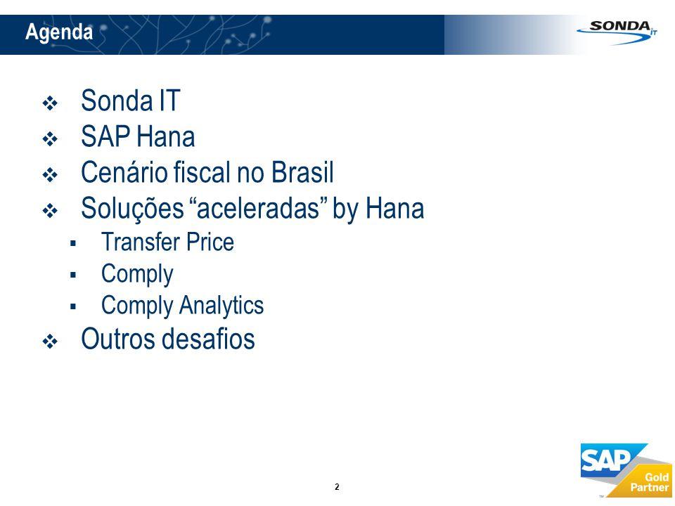 """2  Sonda IT  SAP Hana  Cenário fiscal no Brasil  Soluções """"aceleradas"""" by Hana  Transfer Price  Comply  Comply Analytics  Outros desafios Agen"""