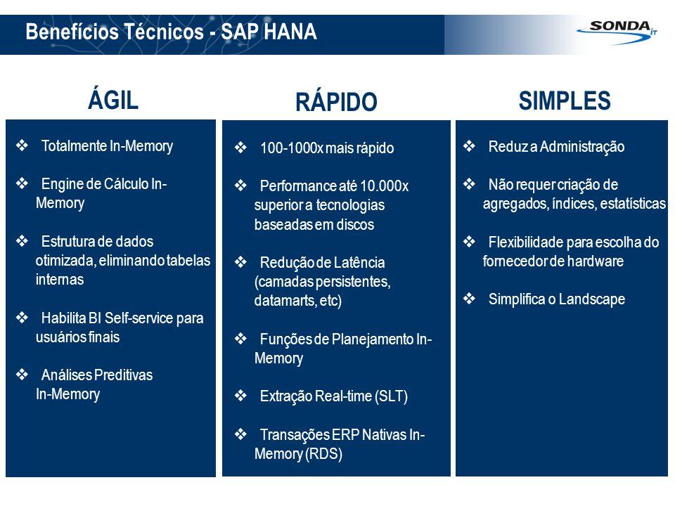 Benefícios Técnicos - SAP HANA ÁGIL  Totalmente In-Memory  Engine de Cálculo In- Memory  Estrutura de dados otimizada, eliminando tabelas internas