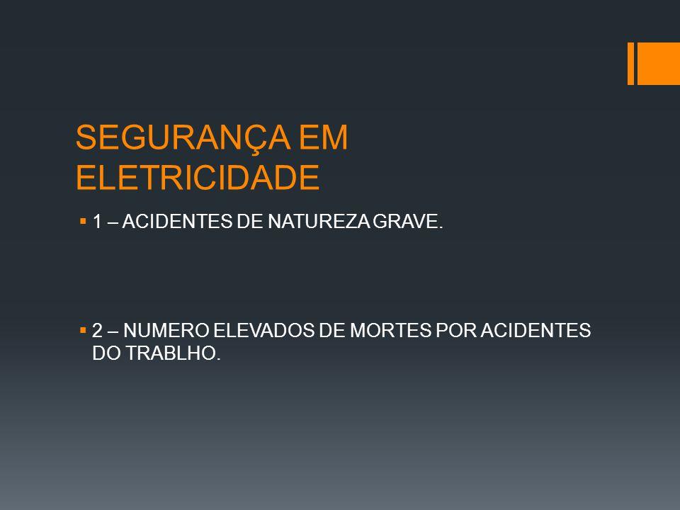  1 – ACIDENTES DE NATUREZA GRAVE.  2 – NUMERO ELEVADOS DE MORTES POR ACIDENTES DO TRABLHO.