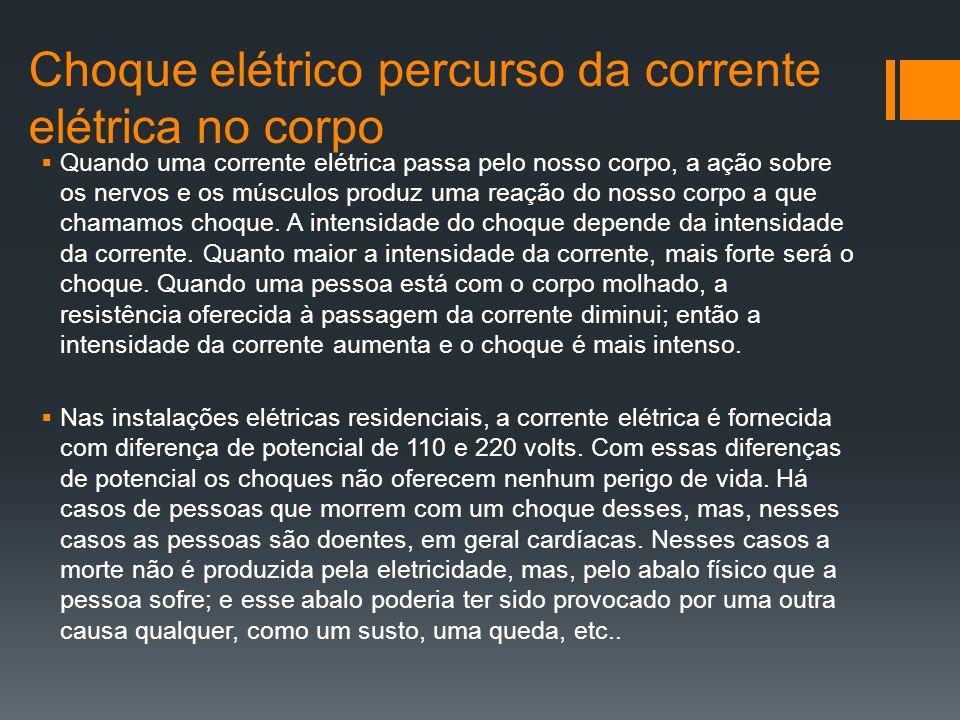  Resistencia do corpo Humano R 1 ≅ 200 Ω R 3 ≅ 100 Ω R 2 ≅ 200 Ω INTERNA ≅ 500 Ω EXTERNA pele úmida ≅ 0 Ω pele seca ≅ de 1000 a 2000 Ω