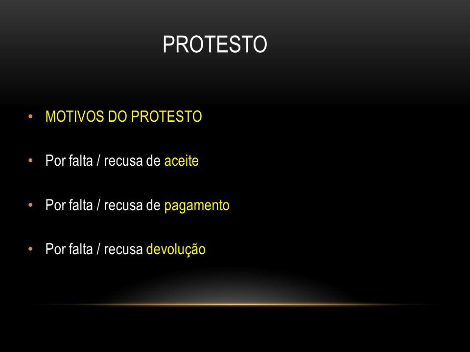 PROTESTO MOTIVOS DO PROTESTO Por falta / recusa de aceite Por falta / recusa de pagamento Por falta / recusa devolução