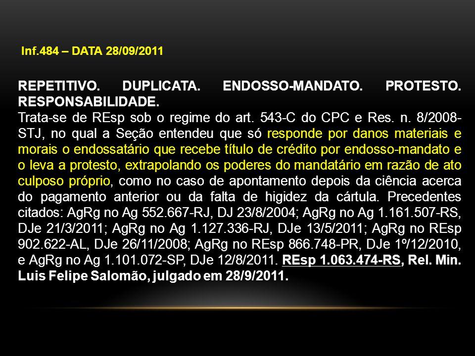 Inf.484 – DATA 28/09/2011 REPETITIVO. DUPLICATA. ENDOSSO-MANDATO. PROTESTO. RESPONSABILIDADE. Trata-se de REsp sob o regime do art. 543-C do CPC e Res