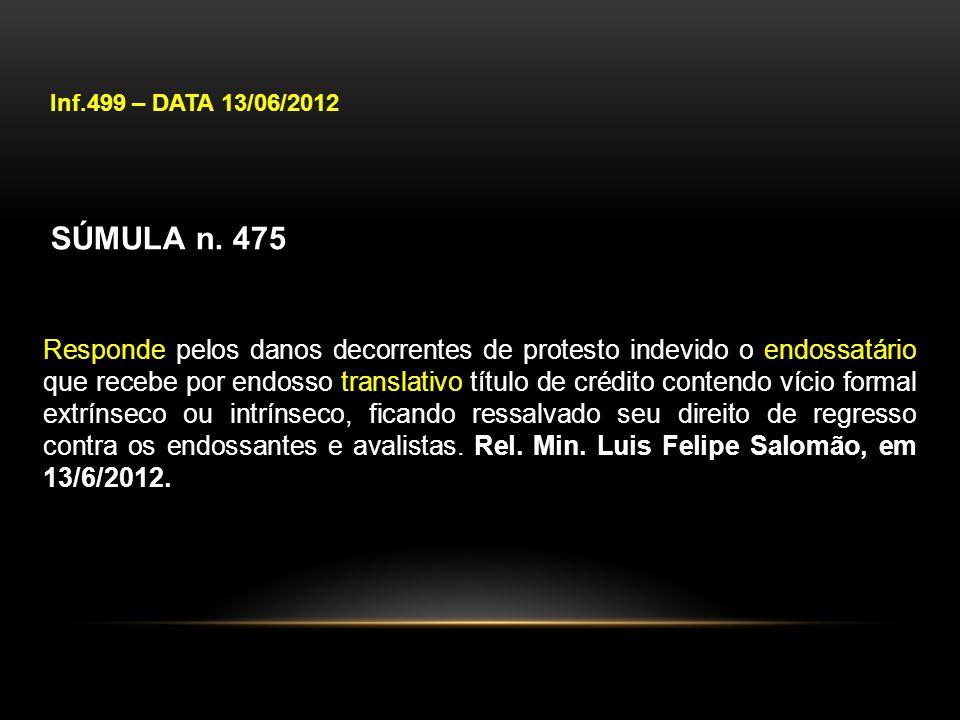 Inf.499 – DATA 13/06/2012 SÚMULA n. 475 Responde pelos danos decorrentes de protesto indevido o endossatário que recebe por endosso translativo título