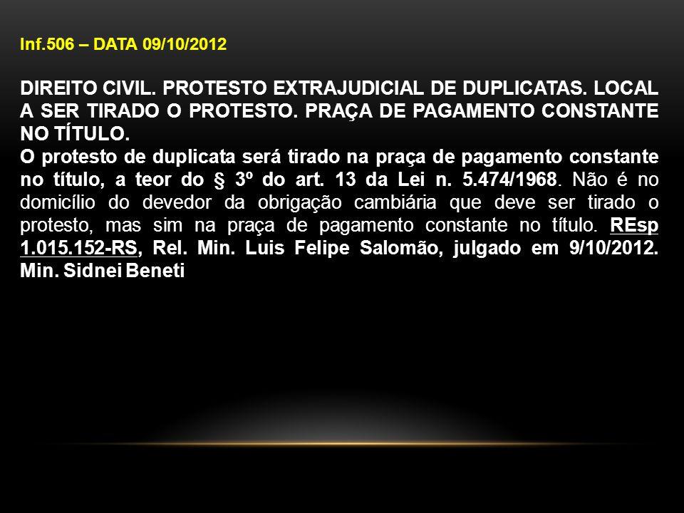 Inf.506 – DATA 09/10/2012 DIREITO CIVIL. PROTESTO EXTRAJUDICIAL DE DUPLICATAS. LOCAL A SER TIRADO O PROTESTO. PRAÇA DE PAGAMENTO CONSTANTE NO TÍTULO.
