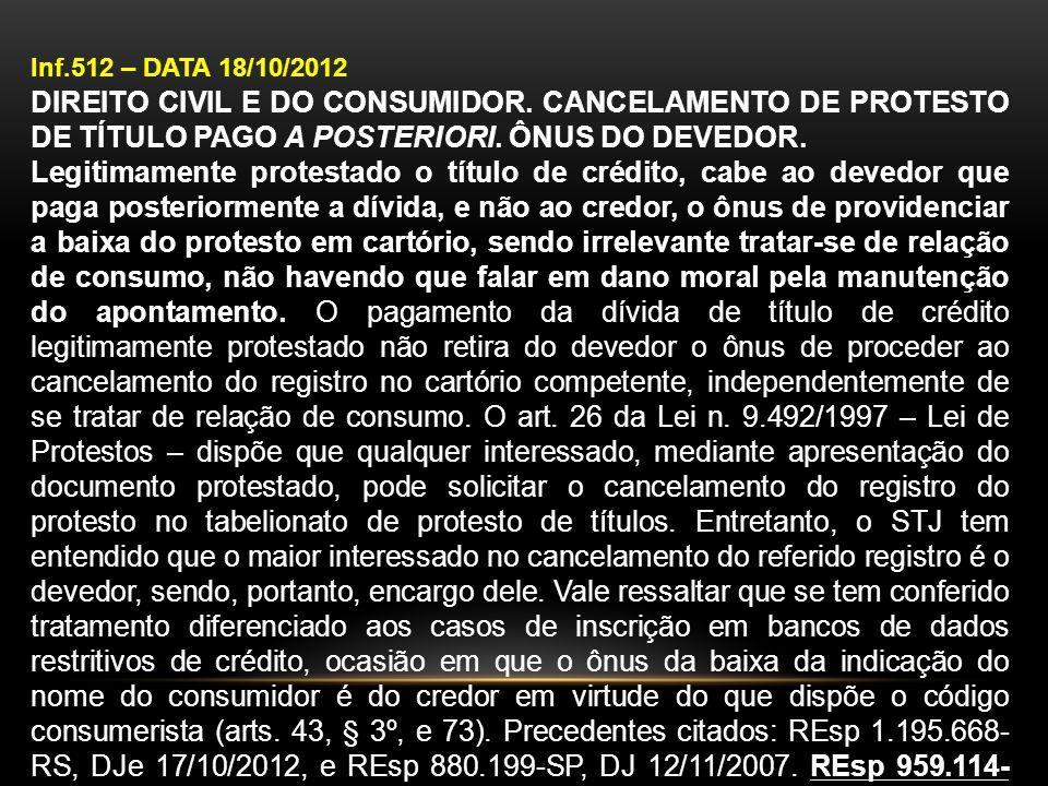 Inf.512 – DATA 18/10/2012 DIREITO CIVIL E DO CONSUMIDOR. CANCELAMENTO DE PROTESTO DE TÍTULO PAGO A POSTERIORI. ÔNUS DO DEVEDOR. Legitimamente protesta