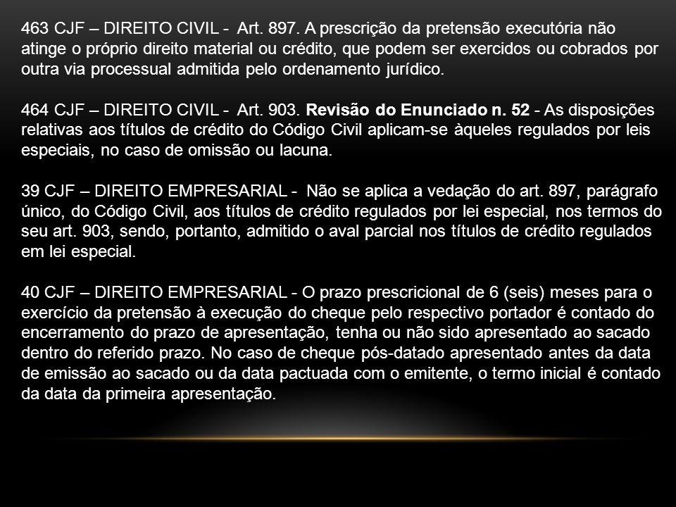 463 CJF – DIREITO CIVIL - Art. 897. A prescrição da pretensão executória não atinge o próprio direito material ou crédito, que podem ser exercidos ou