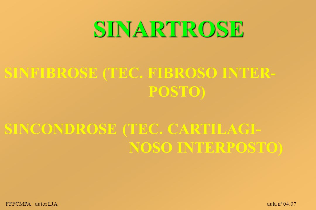 FFFCMPA autor LJA aula nº 04.07 SINARTROSE SINFIBROSE (TEC. FIBROSO INTER- POSTO) SINCONDROSE (TEC. CARTILAGI- NOSO INTERPOSTO)
