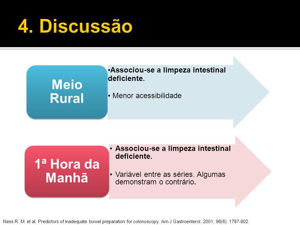 Associou-se a limpeza intestinal deficiente. Menor acessibilidade Meio Rural Associou-se a limpeza intestinal deficiente. Variável entre as séries. Al