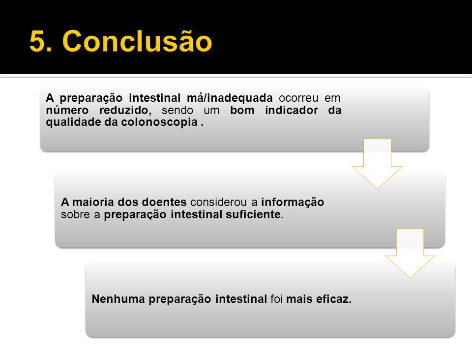 A preparação intestinal má/inadequada ocorreu em número reduzido, sendo um bom indicador da qualidade da colonoscopia. A maioria dos doentes considero