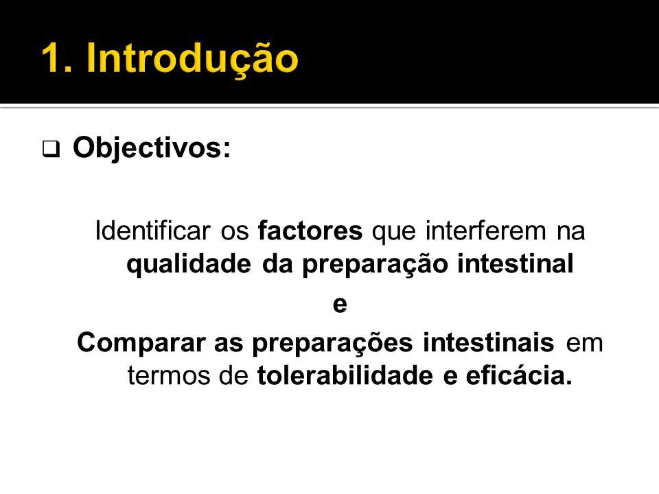  Objectivos: Identificar os factores que interferem na qualidade da preparação intestinal e Comparar as preparações intestinais em termos de tolerabi