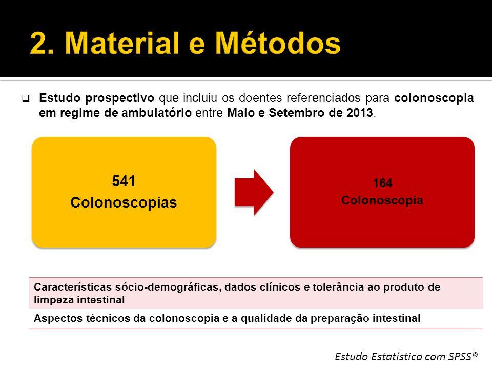 541 Colonoscopias 164 Colonoscopia Estudo Estatístico com SPSS®  Estudo prospectivo que incluiu os doentes referenciados para colonoscopia em regime