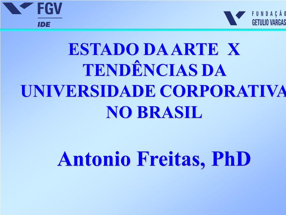 ESTADO DA ARTE X TENDÊNCIAS DA UNIVERSIDADE CORPORATIVA NO BRASIL Antonio Freitas, PhD
