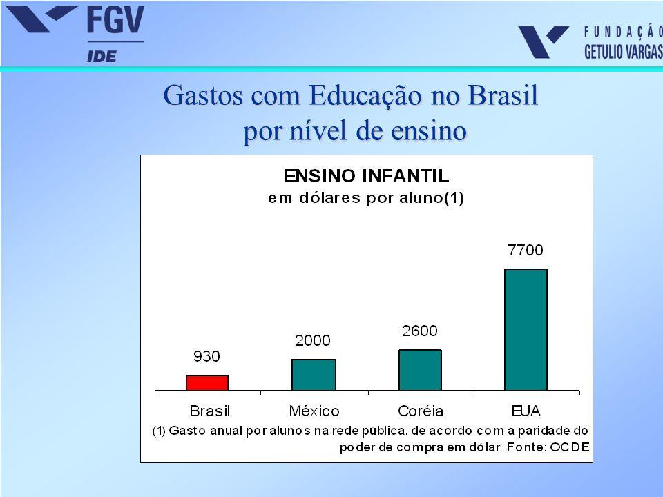 Gastos com Educação no Brasil por nível de ensino