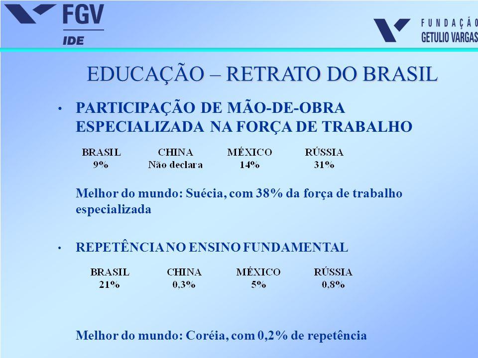 EDUCAÇÃO – RETRATO DO BRASIL PARTICIPAÇÃO DE MÃO-DE-OBRA ESPECIALIZADA NA FORÇA DE TRABALHO Melhor do mundo: Suécia, com 38% da força de trabalho espe