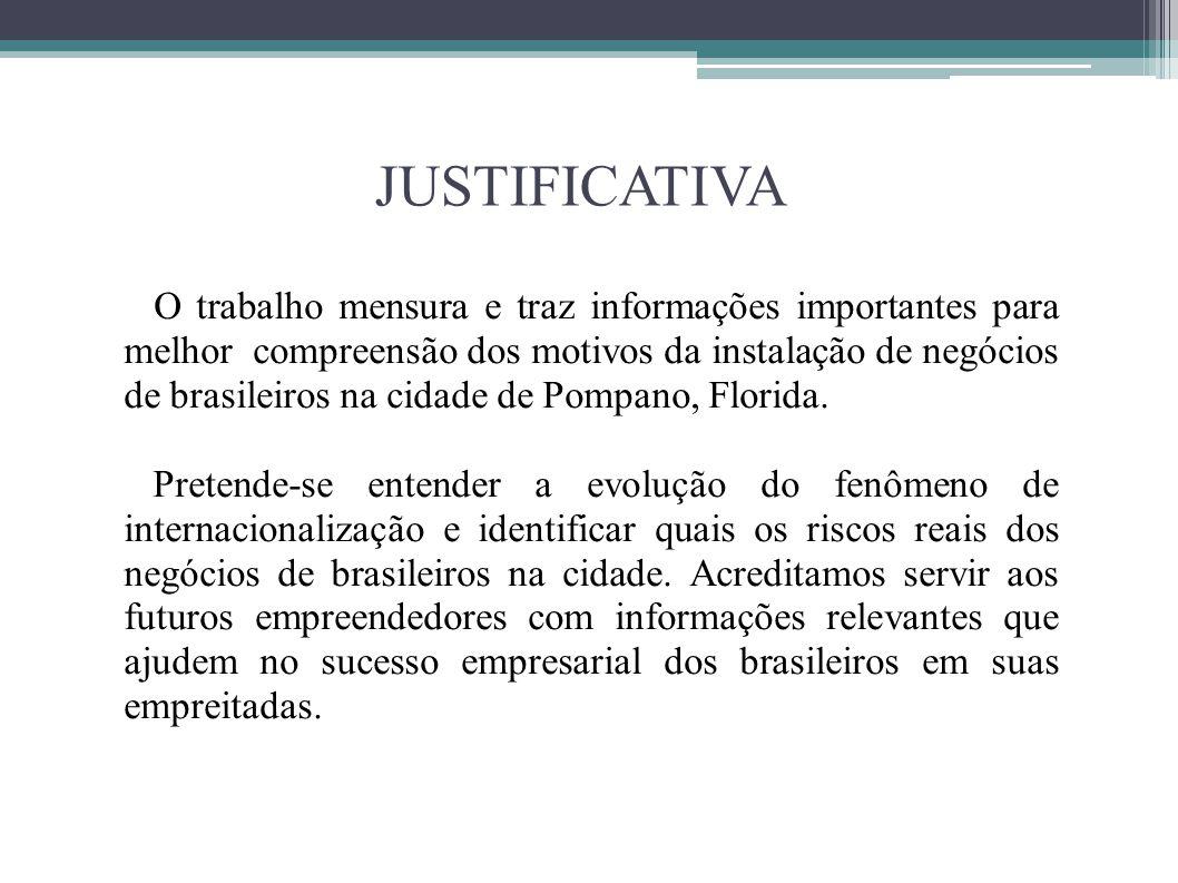 JUSTIFICATIVA O trabalho mensura e traz informações importantes para melhor compreensão dos motivos da instalação de negócios de brasileiros na cidade