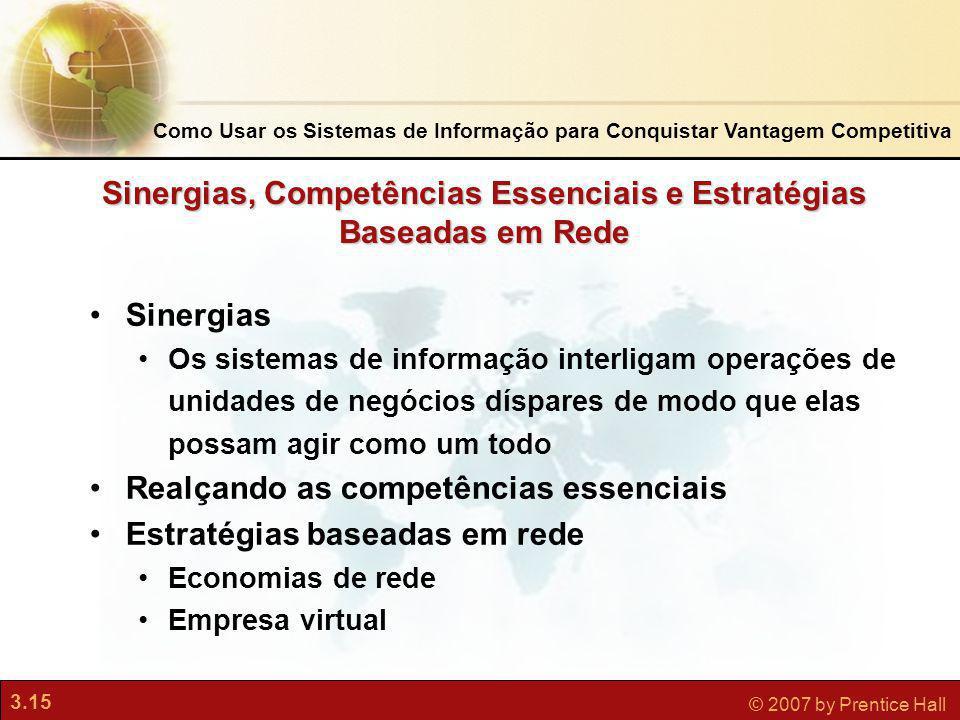 3.15 © 2007 by Prentice Hall Sinergias Os sistemas de informação interligam operações de unidades de negócios díspares de modo que elas possam agir co