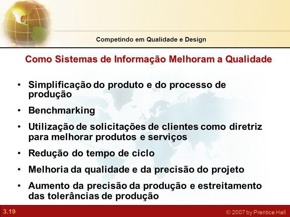 3.19 © 2007 by Prentice Hall Simplificação do produto e do processo de produção Benchmarking Utilização de solicitações de clientes como diretriz para