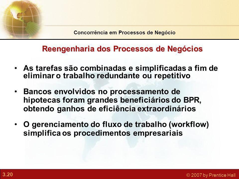 3.20 © 2007 by Prentice Hall As tarefas são combinadas e simplificadas a fim de eliminar o trabalho redundante ou repetitivo Bancos envolvidos no proc