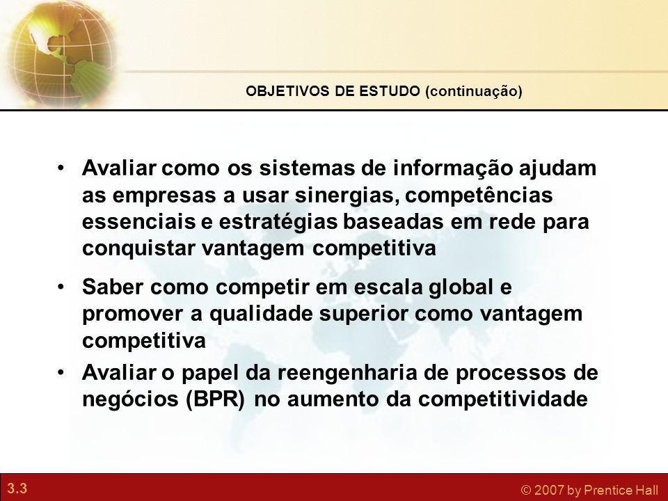 3.3 © 2007 by Prentice Hall Avaliar como os sistemas de informação ajudam as empresas a usar sinergias, competências essenciais e estratégias baseadas