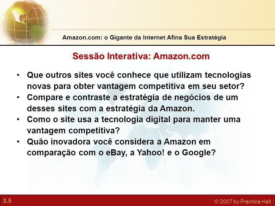 3.5 © 2007 by Prentice Hall Que outros sites você conhece que utilizam tecnologias novas para obter vantagem competitiva em seu setor? Compare e contr