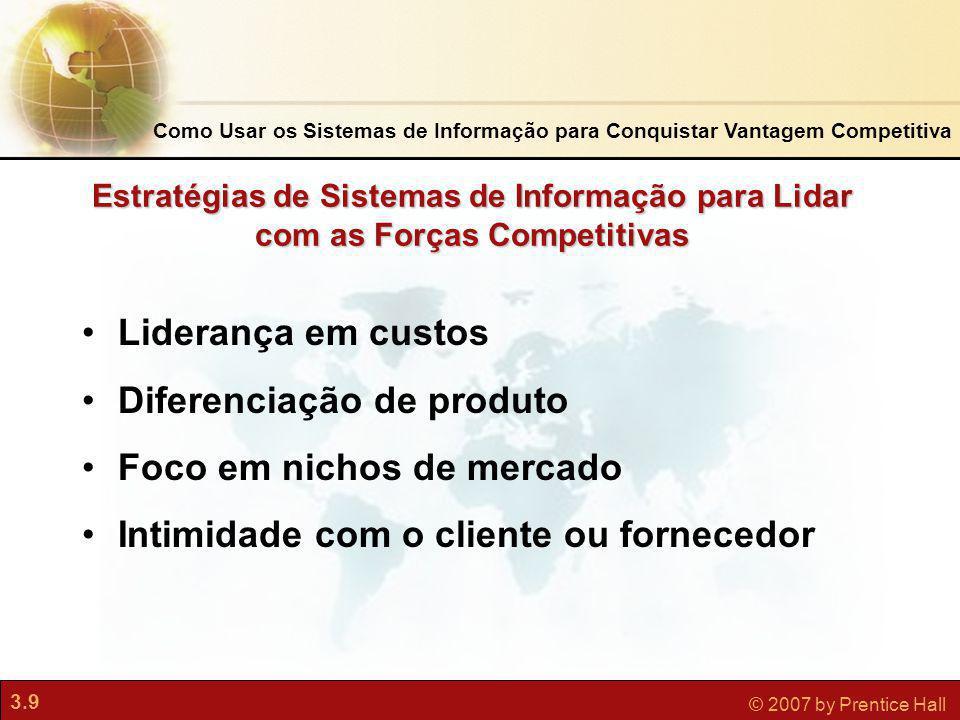 3.9 © 2007 by Prentice Hall Estratégias de Sistemas de Informação para Lidar com as Forças Competitivas Liderança em custos Diferenciação de produto F