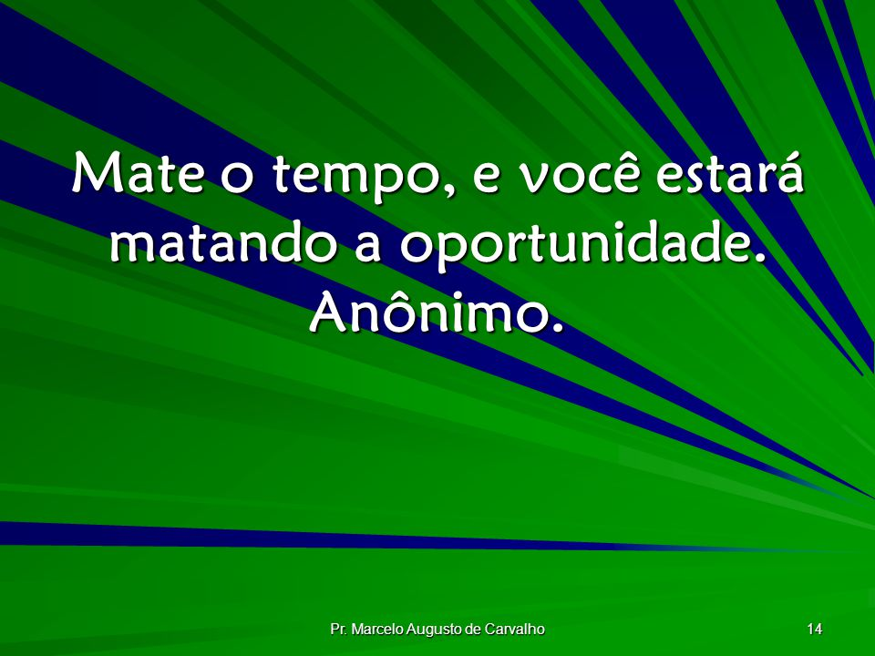 Pr. Marcelo Augusto de Carvalho 14 Mate o tempo, e você estará matando a oportunidade. Anônimo.