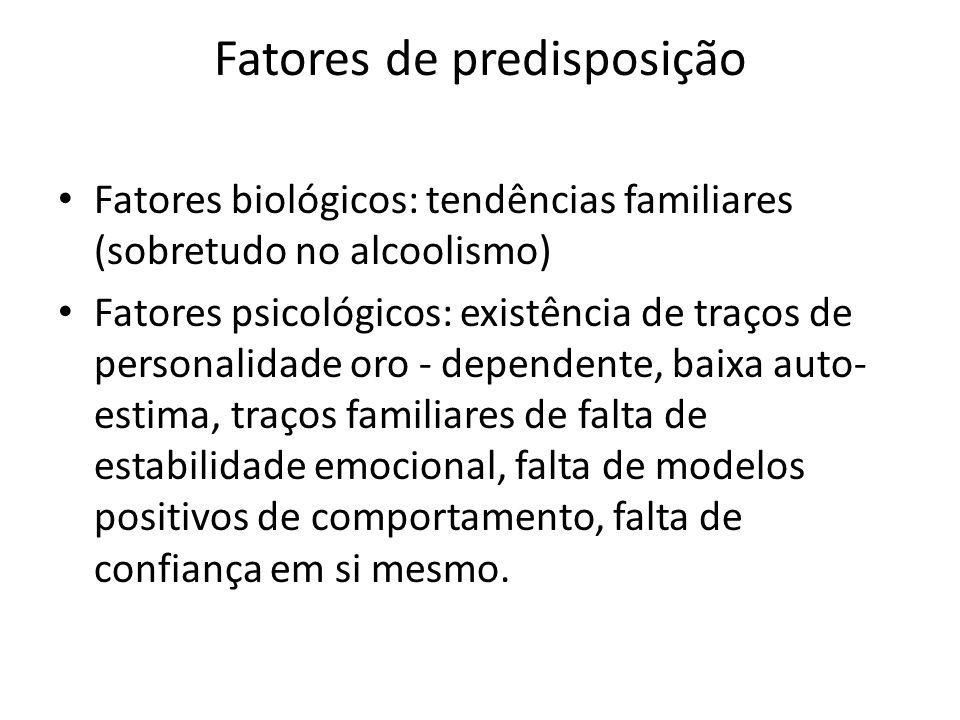 Fatores de predisposição Fatores biológicos: tendências familiares (sobretudo no alcoolismo) Fatores psicológicos: existência de traços de personalida