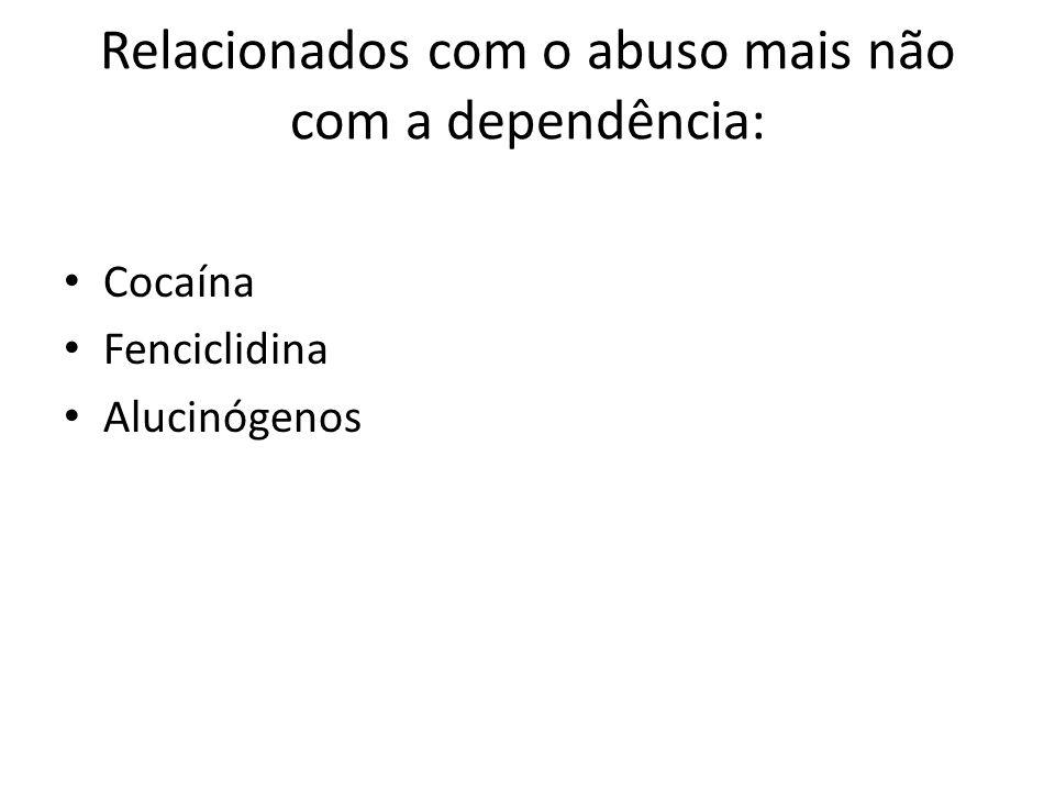 Relacionados com o abuso mais não com a dependência: Cocaína Fenciclidina Alucinógenos