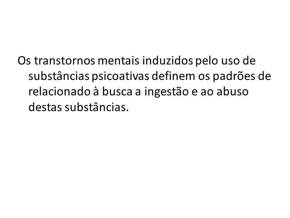 Os transtornos mentais induzidos pelo uso de substâncias psicoativas definem os padrões de relacionado à busca a ingestão e ao abuso destas substâncias.