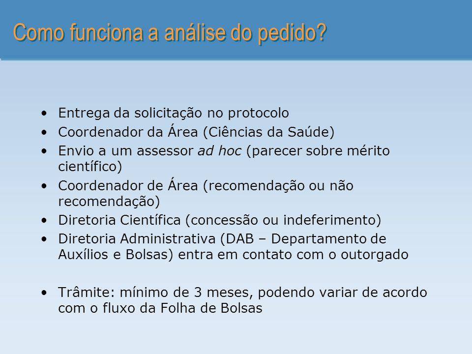 Como funciona a análise do pedido? Entrega da solicitação no protocolo Coordenador da Área (Ciências da Saúde) Envio a um assessor ad hoc (parecer sob