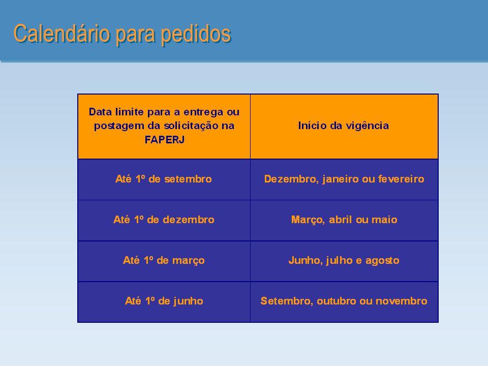 Calendário para pedidos