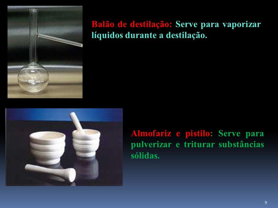 10 Béquer: instrumento de uso geral em laboratório, é empregado para administrar reações entre soluções, dissolver substâncias sólidas, efetuar reações de precipitação e aquecer líquidos.