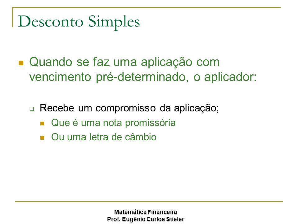 Matemática Financeira Prof. Eugênio Carlos Stieler Desconto Simples Quando se faz uma aplicação com vencimento pré-determinado, o aplicador:  Recebe