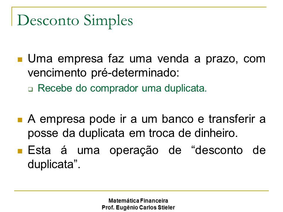 Matemática Financeira Prof. Eugênio Carlos Stieler Desconto Simples Uma empresa faz uma venda a prazo, com vencimento pré-determinado:  Recebe do com