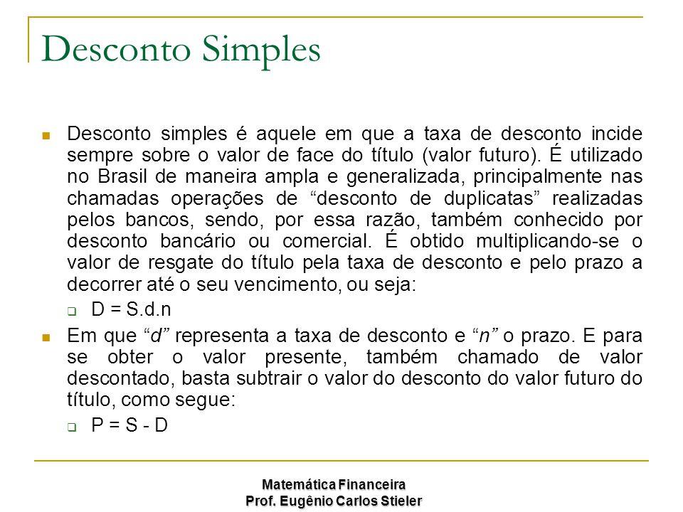 Matemática Financeira Prof. Eugênio Carlos Stieler Desconto Simples Desconto simples é aquele em que a taxa de desconto incide sempre sobre o valor de