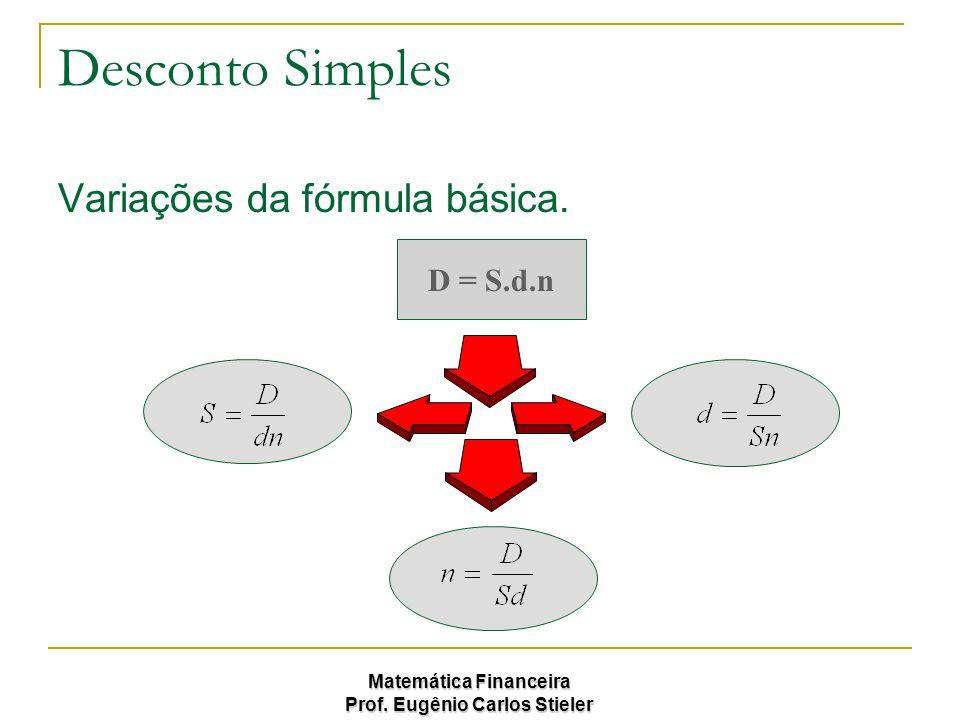 Matemática Financeira Prof. Eugênio Carlos Stieler Desconto Simples Variações da fórmula básica. D = S.d.n