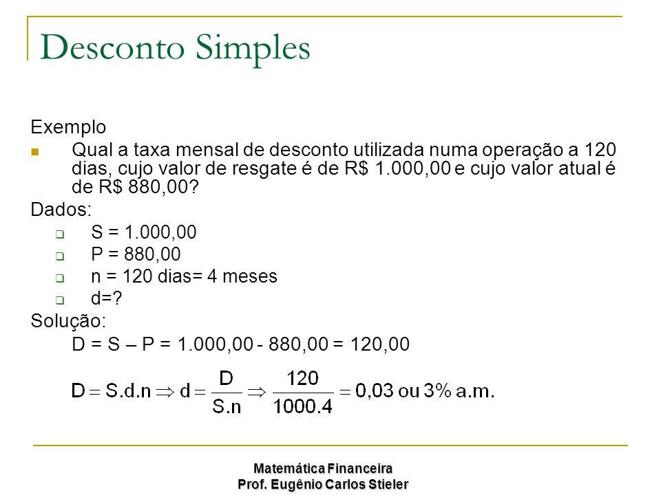 Matemática Financeira Prof. Eugênio Carlos Stieler Desconto Simples Exemplo Qual a taxa mensal de desconto utilizada numa operação a 120 dias, cujo va