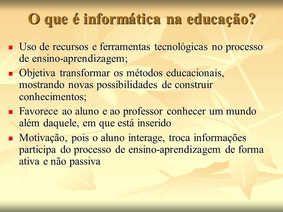 O que é informática na educação? Uso de recursos e ferramentas tecnológicas no processo de ensino-aprendizagem; Uso de recursos e ferramentas tecnológ