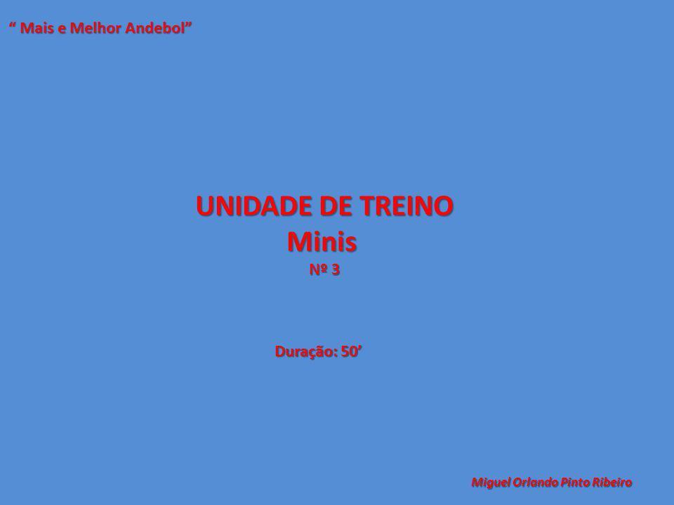 """UNIDADE DE TREINO Minis Nº 3 """" Mais e Melhor Andebol"""" Miguel Orlando Pinto Ribeiro Duração: 50'"""