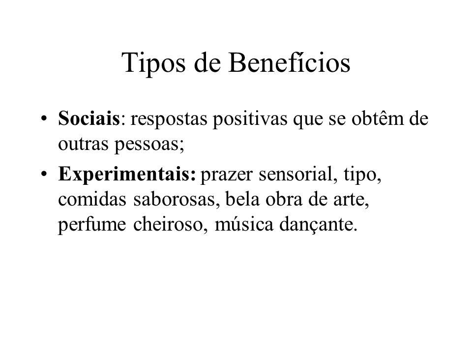 Tipos de Benefícios Sociais: respostas positivas que se obtêm de outras pessoas; Experimentais: prazer sensorial, tipo, comidas saborosas, bela obra d