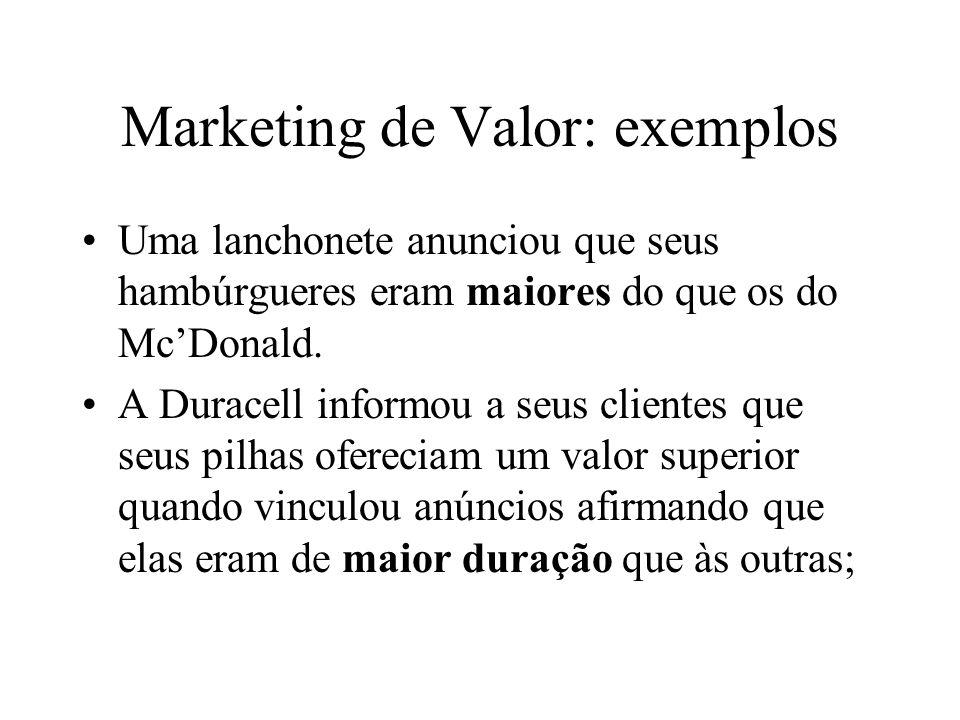 Marketing de Valor: exemplos Uma lanchonete anunciou que seus hambúrgueres eram maiores do que os do Mc'Donald. A Duracell informou a seus clientes qu