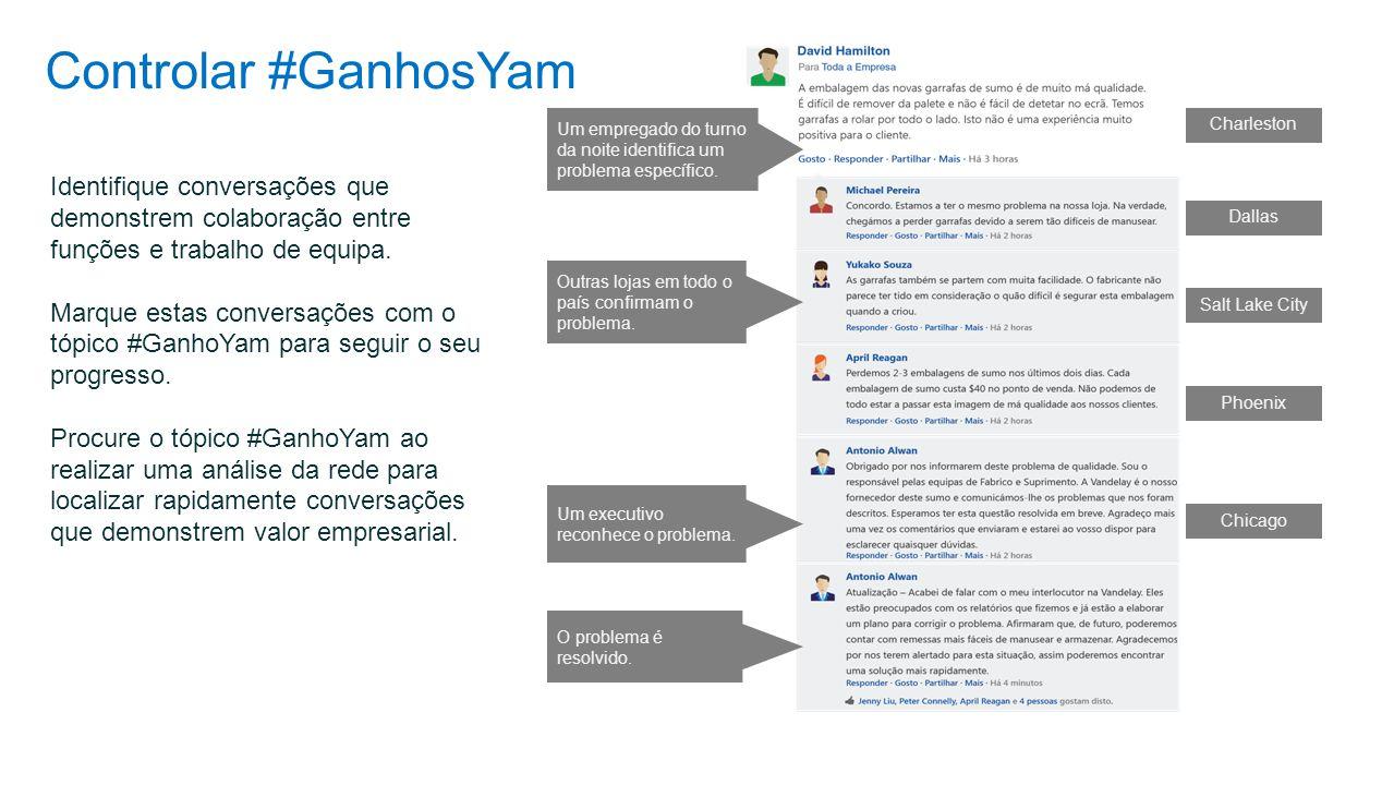 Controlar #GanhosYam Identifique conversações que demonstrem colaboração entre funções e trabalho de equipa. Marque estas conversações com o tópico #G
