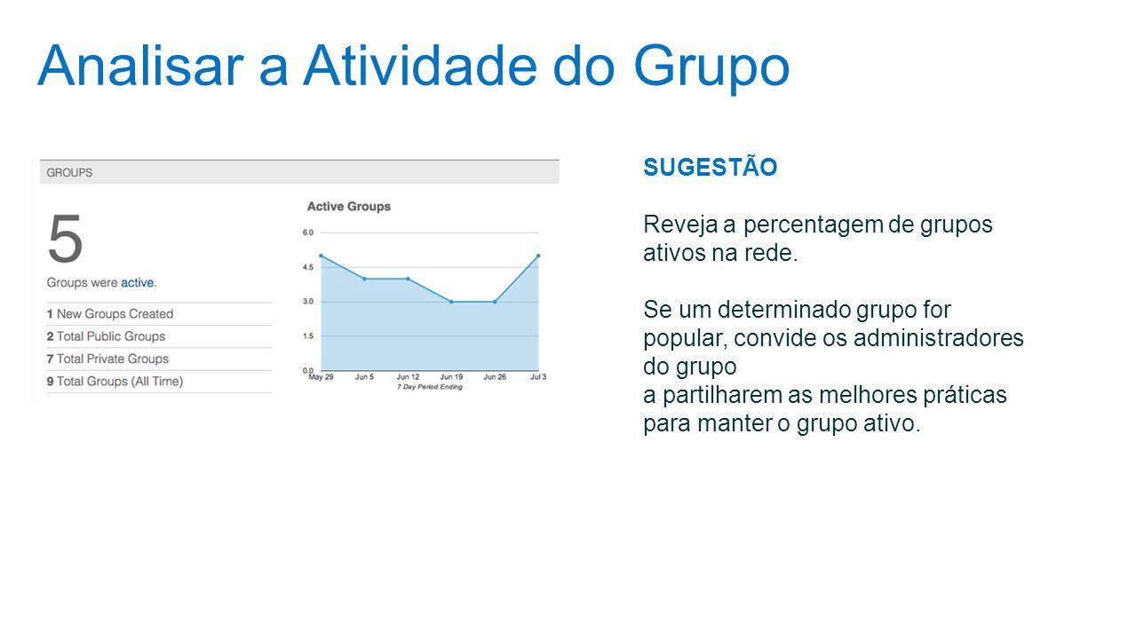 Analisar a Atividade do Grupo SUGESTÃO Reveja a percentagem de grupos ativos na rede. Se um determinado grupo for popular, convide os administradores