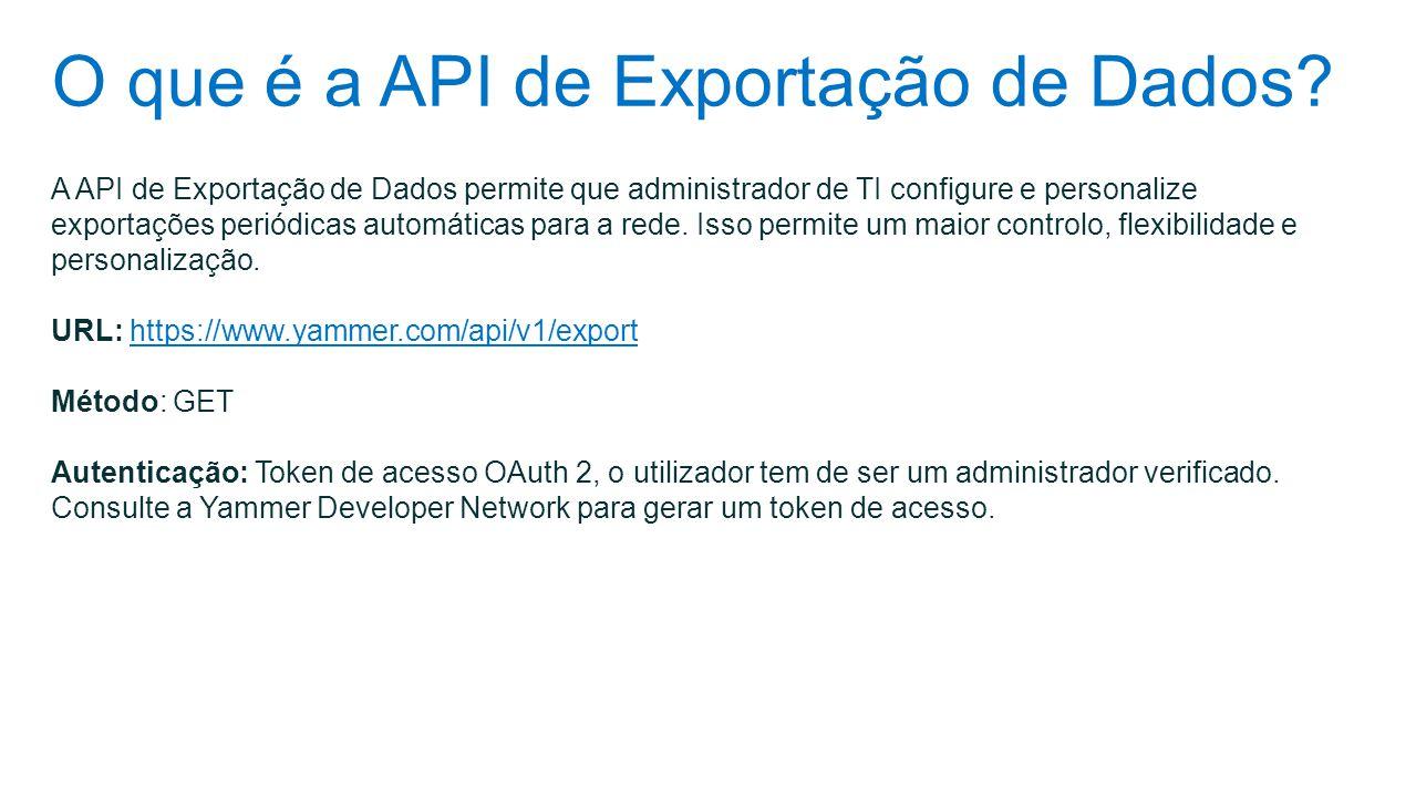 O que é a API de Exportação de Dados? A API de Exportação de Dados permite que administrador de TI configure e personalize exportações periódicas auto