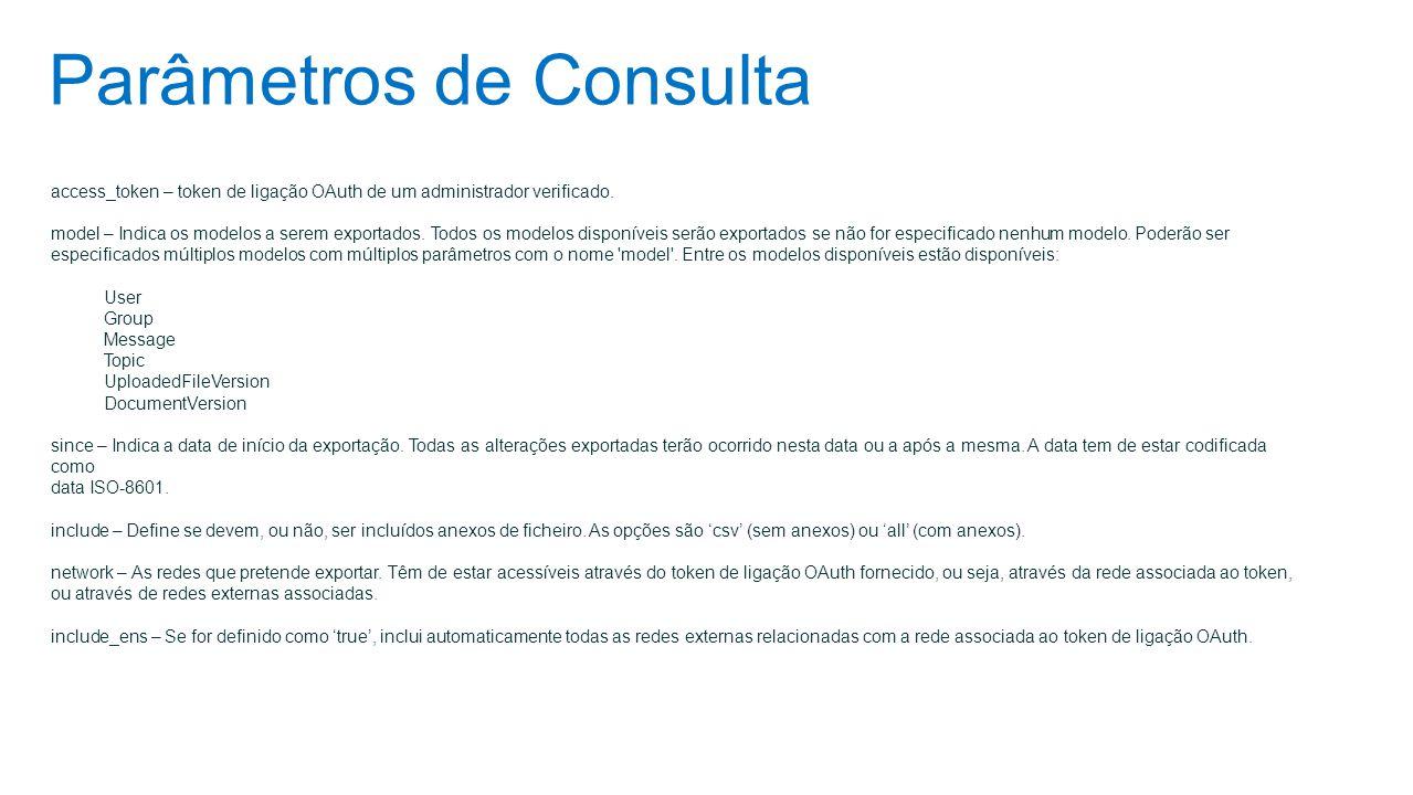 Parâmetros de Consulta access_token – token de ligação OAuth de um administrador verificado. model – Indica os modelos a serem exportados. Todos os mo