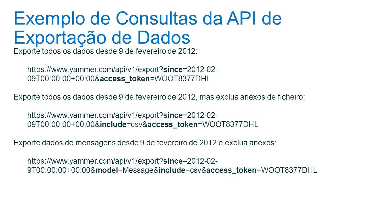 Exemplo de Consultas da API de Exportação de Dados Exporte todos os dados desde 9 de fevereiro de 2012: https://www.yammer.com/api/v1/export?since=201