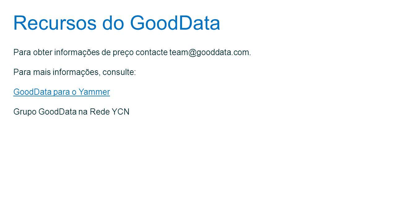 Recursos do GoodData Para obter informações de preço contacte team@gooddata.com. Para mais informações, consulte: GoodData para o Yammer Grupo GoodDat