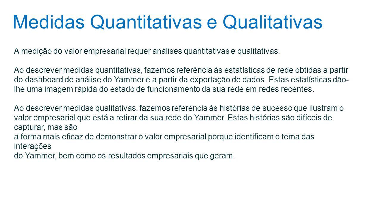 Medidas Quantitativas e Qualitativas A medição do valor empresarial requer análises quantitativas e qualitativas. Ao descrever medidas quantitativas,